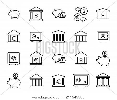 Premium set of bank line icons. Simple pictograms pack. Stroke vector illustration on a white background. Modern outline style icons collection.