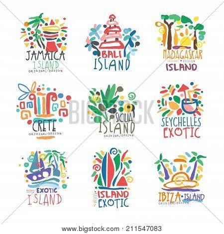 Exotic summer vacation colorful logo set. Tropical islands, Jamaica, Bali, Crete, Madagascar, Seychelles, Ibiza. Hand drawn template. Travel concept for agency, tour operator. Vector isolated on white