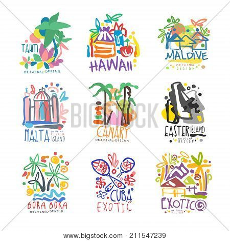 Exotic summer vacation colorful logo set. Tropical islands, Tahiti, Hawaii, Maldive, Malta, Canary, Bora Bora. Hand drawn template. Travel concept for agency, tour operator. Vector isolated on white