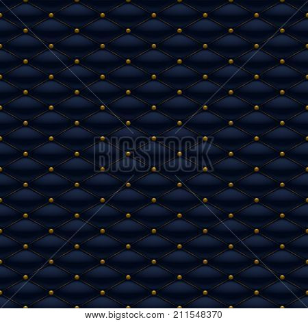 Quilted seamless pattern. Golden pins stitching rivets on textile.