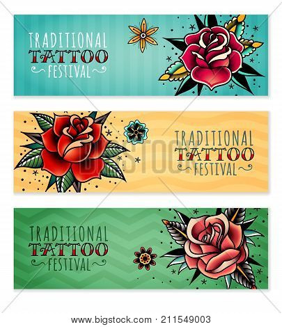 set of three horizontal banners on the subject tattoo festival with traditional roses