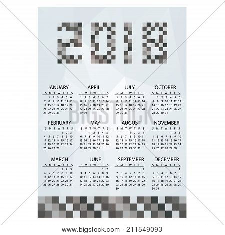 2018 Simple Business Wall Calendar Grayscale Bricks Eps10