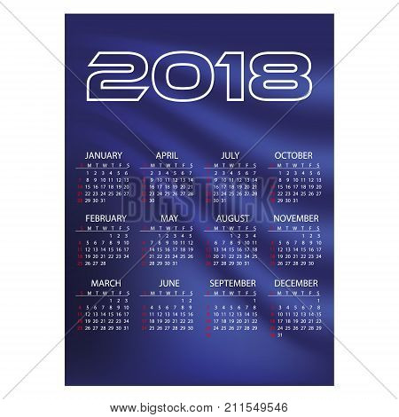 2018 Simple Business Wall Calendar Blue Color Abstract Background Eps10