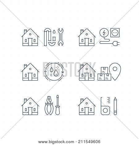 Electricity services, plumbing repair, p-trap clog, home cleaning, moving house, box delivery, home maintenance, real estate solution, installment concept, vector line icon