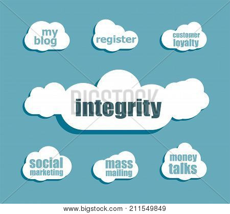 Business Concept. Word Integrity . Design With Abstract Speech Bubble Set