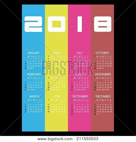 2018 Simple Business Wall Calendar With Vertical Color Stripes Eps10