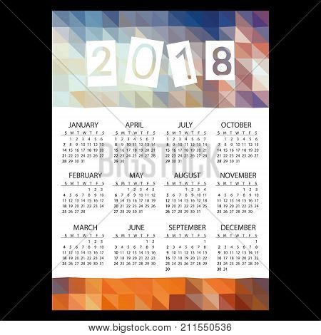 2018 Simple Business Wall Calendar With Low Polygon Color  Theme Pattern Eps10