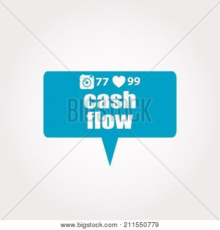 Text Cash Flow. Business Concept . Labels With Text, Heart, Camera And Counters