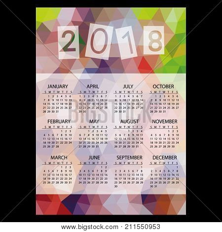 2018 Simple Business Wall Calendar With Low Polygon Triangle Multicolor Theme Pattern Eps10