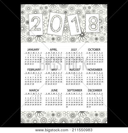 2018 Simple Business Wall Calendar With Outline Floral Pattern Eps10