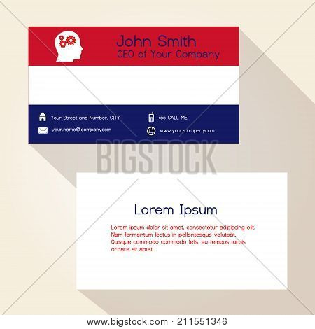 Nederland Flag Color Business Card Design Eps10