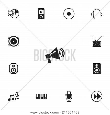 Set Of 13 Editable Song Icons. Includes Symbols Such As Rewind, Rec, Phonogram And More
