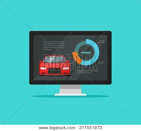 Car diagnostic test on computer vector illustration, flat design auto diagnostics or check results on pc monitor tool, automobile diagnose equipment