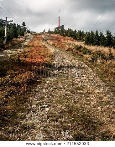 highest hill of Moravskoslezske Beskydy mountains in Czech republic - Lysa hora hill during autumn day