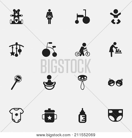 Set Of 16 Editable Baby Icons. Includes Symbols Such As Adorn, Velocipede, Maraca And More