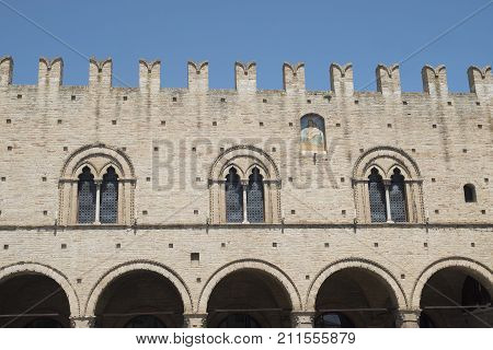 Montecassiano (Macerata Marches Italy) old buildings in the historic town. Palazzo dei Priori