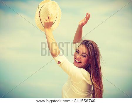 Happy Woman On Summer Beach.