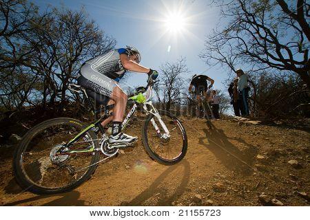 Team Garmin Mtb Rider In Corner