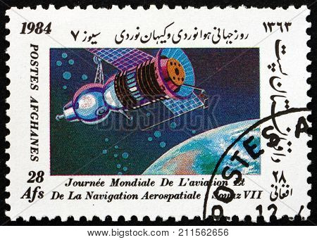 AFGHANISTAN - CIRCA 1984: a stamp printed in Afghanistan shows Soyuz 7 international day of the space research circa 1984