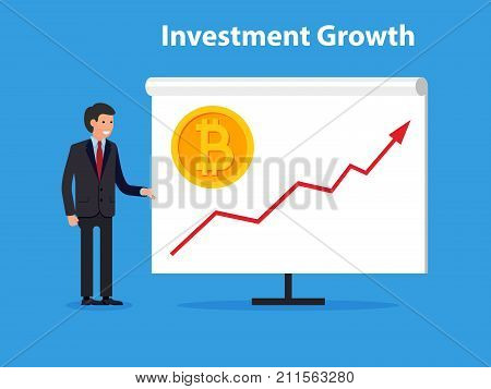 Business man present uptrend line arrow investments for bitcoin and blockchain. Flat design of new technology.