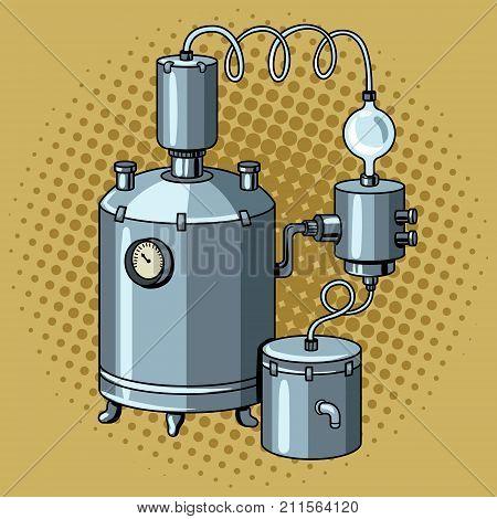 Alcohol distilling machine pop art retro vector illustration. Moonshine. Comic book style imitation.