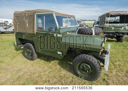 DUNSFOLD, UK - AUGUST 26: Early Mark British Land Rover 4x4 at a gathering of classic and modern vehicles in Dunsfold, UK - August 26, 2017