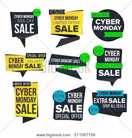 Cyber Monday Sale Banner Set Vector. Sale Technology Banner. Discount Tag, Special Monday Offer Banner. Special Offer Cyber Templates. Best Offer Advertising. Isolated Illustration