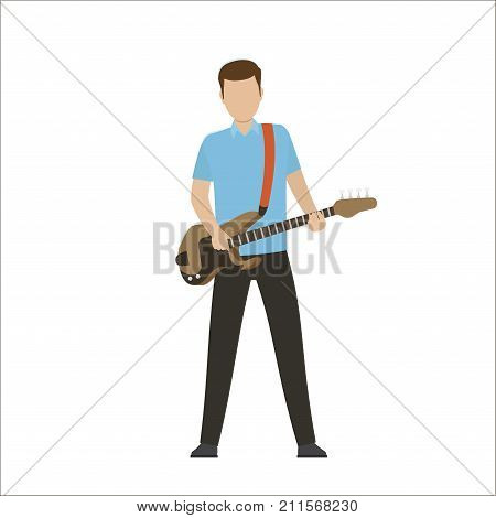 Musician play on electric and bass guitar isolated vector illustration on white background. Music performance on modern instrument