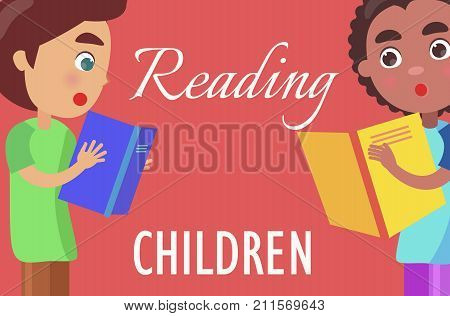 Reading for children poster with young boys in T-shirts who read books with high interest on red background vector illustration.
