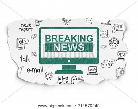 News concept: Painted green Breaking News On Screen icon on Torn Paper background with  Hand Drawn News Icons