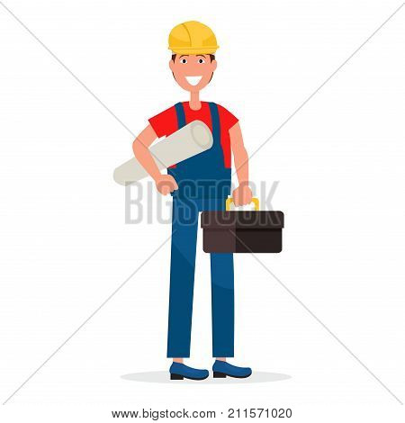 Builder in yellow hardhat, blue overalls, red T-shirt with scheme rolled in tube and big toolbox isolated on white background vector illustration.