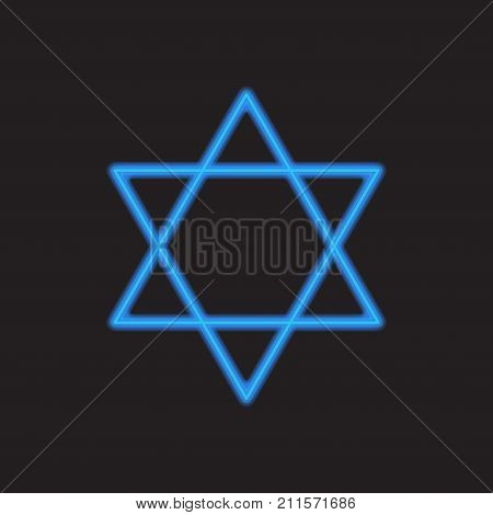 Star of David - Neon blue color logo, Jewish holiday background, Israel symbol, David's star icon, blue glowing lights, copy space for text, template Hanukah vector illustration.