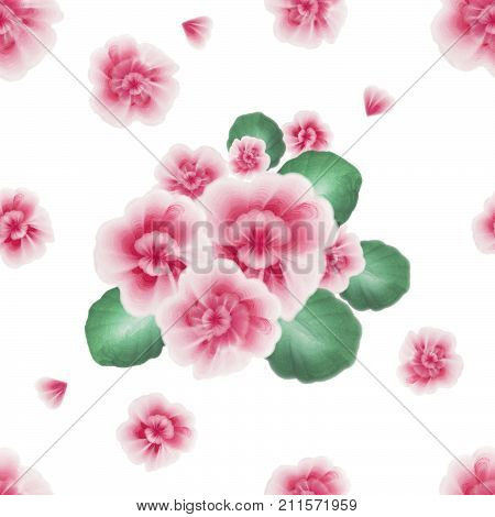 A floral pattern with gouache one stroke painting. A seamless pattern with pink African violet viola flowers on the white background. Hand drawn gouache folk flowers and leaves. Vintage old style