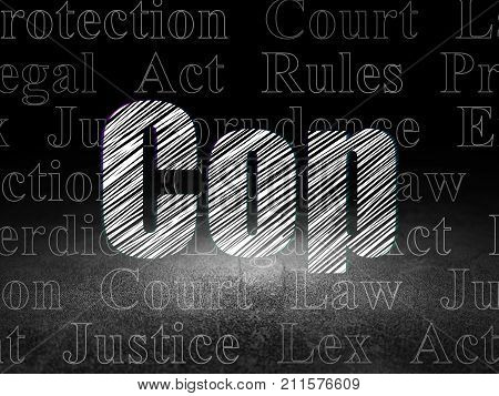 Law concept: Glowing text Cop in grunge dark room with Dirty Floor, black background with  Tag Cloud