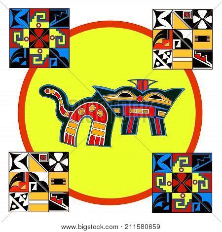 Ethnic patterns of Native Americans: the Aztec, Inca, Maya, Alaska Indians (Mexico, Ecuador, Peru). Drawing in the Mexican style. Jaguar. Vector