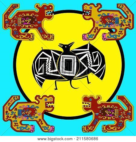 Ethnic patterns of Native Americans: the Aztec, Inca, Maya, Alaska Indians (Mexico, Ecuador, Peru). Drawing in the Mexican style. Jaguar and bat. Vector