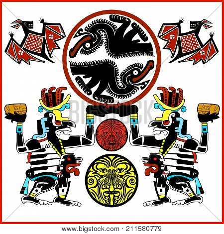 Ethnic patterns of Native Americans: the Aztec, Inca, Maya, Alaska Indians (Mexico, Ecuador, Peru). Drawing in the Mexican style. ancient monsters, bat, vulture. Vector
