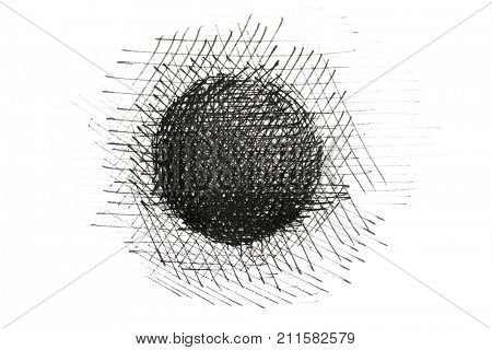 Photo of a Ink drawing or ink pen line drawing of a sphere. A sphere drawing consisting of black ink lines. Isolated on white.Heavy lines.