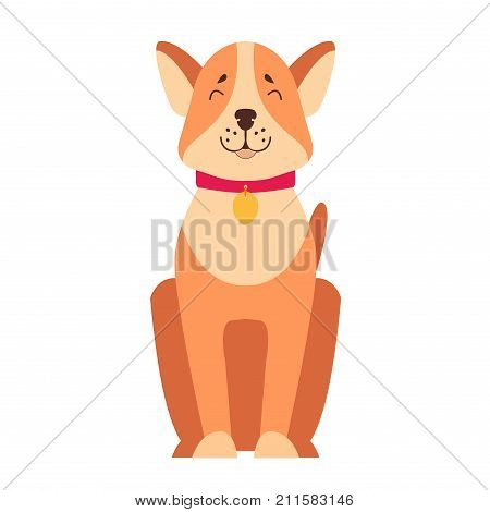 Happy dog dachshund sitting with smiling muzzle flat vector isolated on white background. Lovely purebred cartoon pet illustration for animal friends and companions concepts, pet shop ad