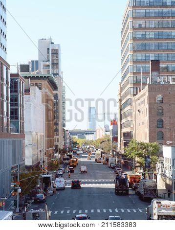 View South Down 11Th Avenue In Manhattan