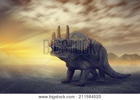 dinosaurs  - Triceratops dinosaurs toy on digital imaging like a real. with a dramatic scene.