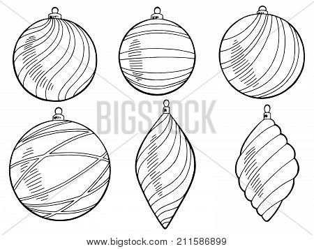 Christmas balls graphic new year black white isolated set illustration vector