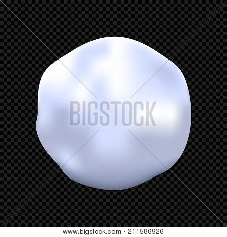 Realistic Snowball Isolated on Dark Background. Vector Snowball Close-Up.