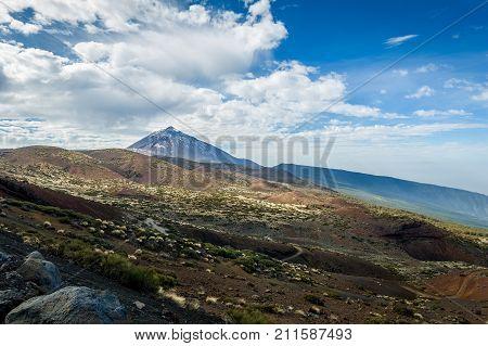 Atones and lava desert fields of Pico del Teide national park. Tenerife island. Canarias, Spain