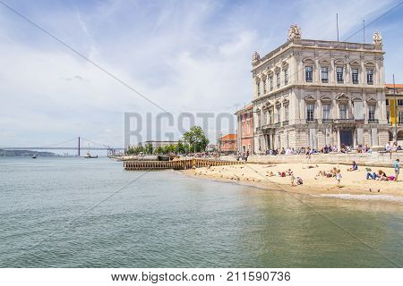 Beach In Lisboa Downtown
