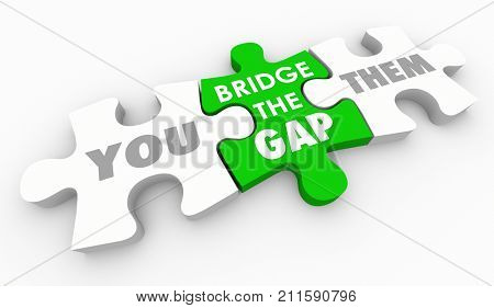 Bridge the Gap Between You and Them Close Differences Puzzle 3d Illustration
