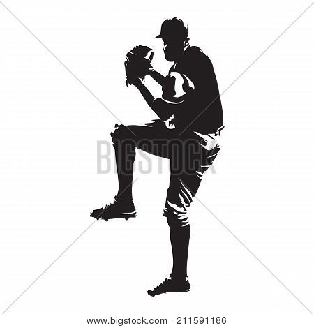 Baseball player pitcher throwing ball abstract vector silhouette