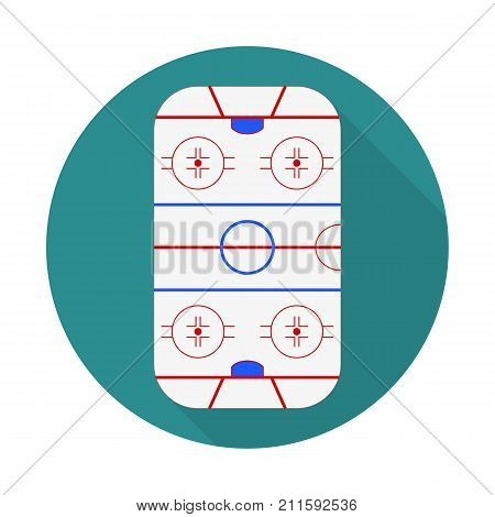 Vector Illustration Of Flat Icon Ice Hockey Field. Flat Vector Related Icon With Long Shadow For Web