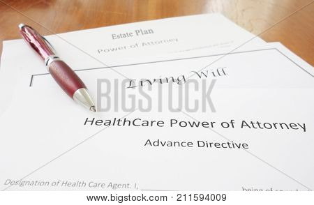 Healthcare Power of Attorney Living Will and Estate Plan documents