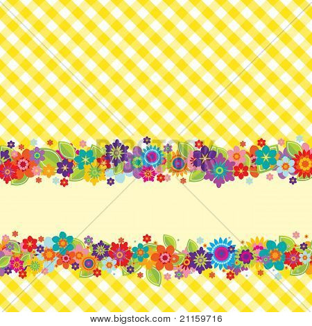 Greeting Card With Flowers And Vichy Pattern